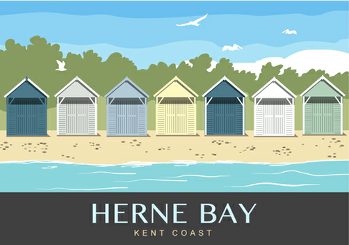 Beach Huts sitting on Herne Bay Beach