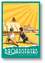 Vintage style travel poster of Broadstairs with green border